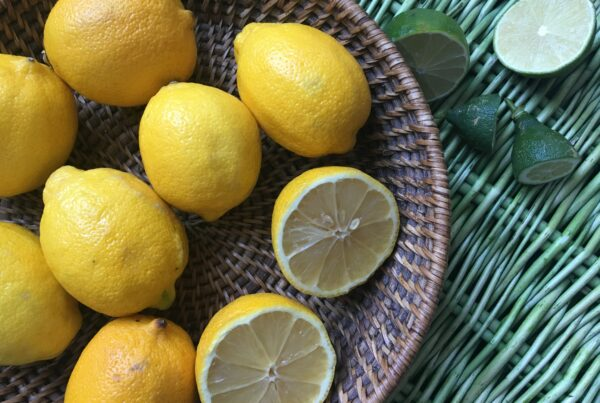 basket of yellow lemons